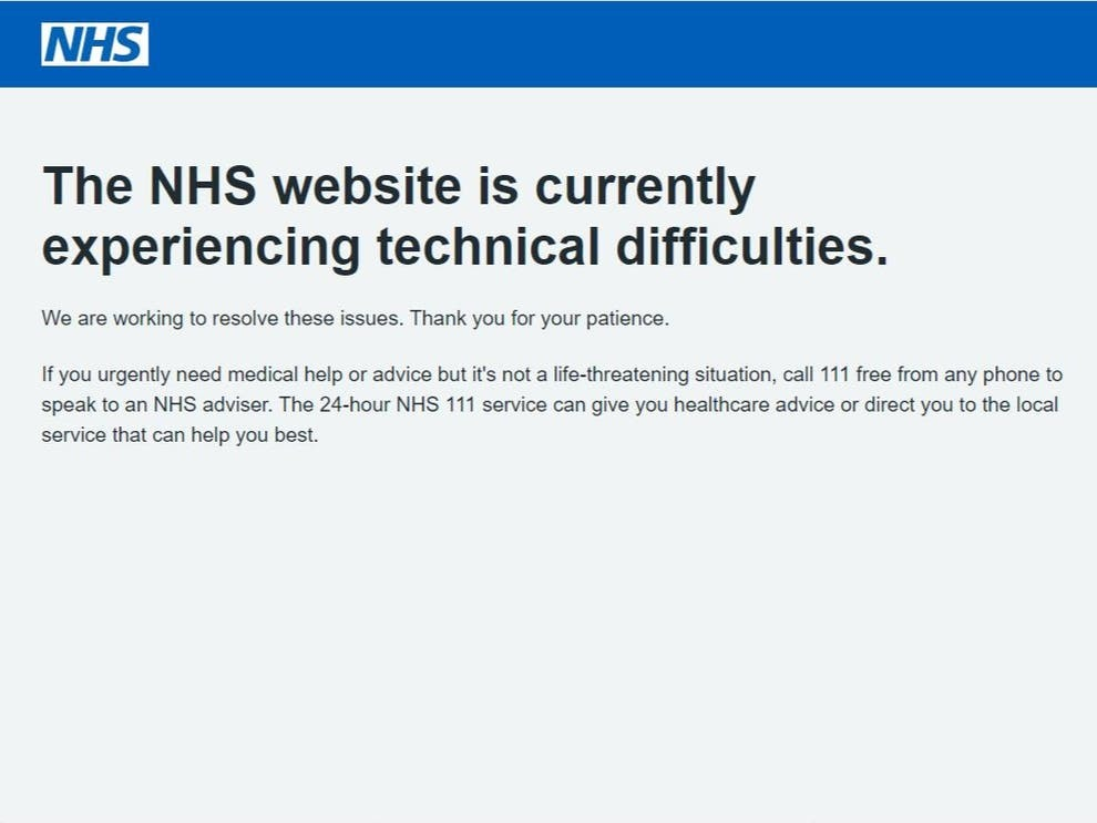 PA - NHS website has temporarily crashed