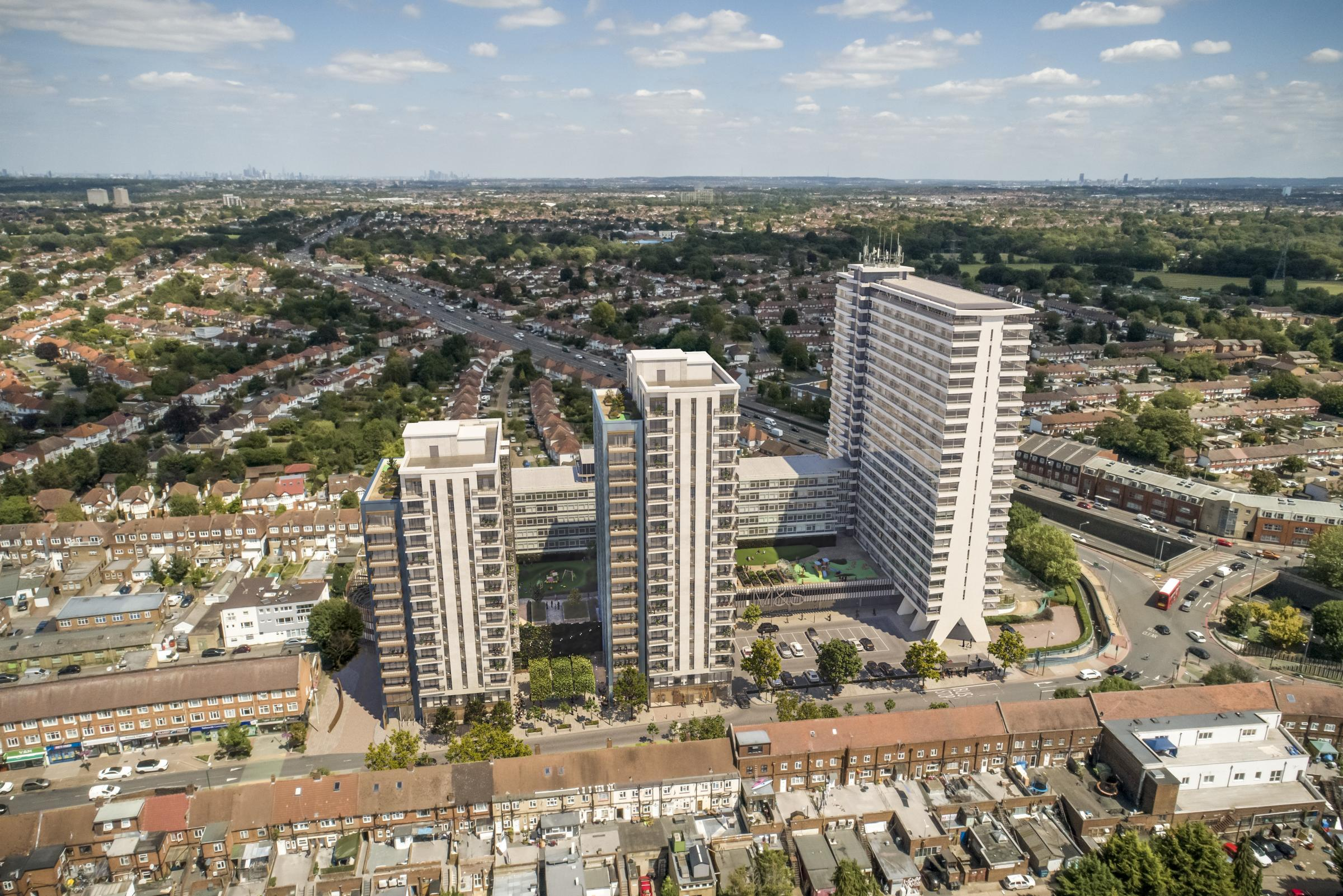 A CGI of the new development on the Tolworth Tower site, including two new towers. Credit: Meadow Partners