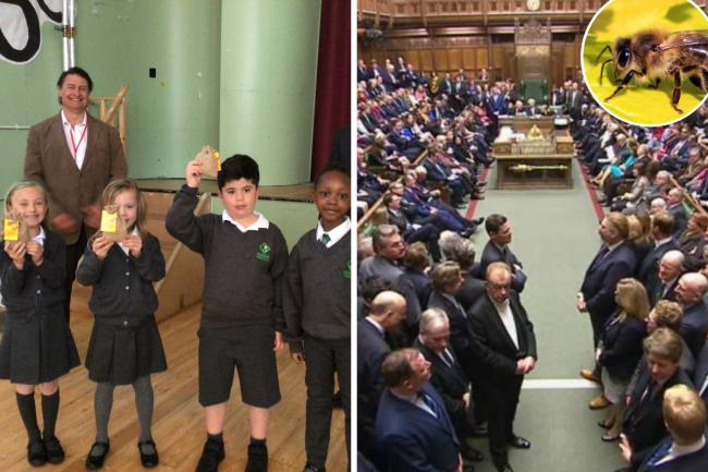 Pupils from Knockhall Primary School with MP Gareth Johnson / House of Commons - PA