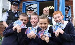 Year 6 pupils Sebastian Marchant, Jeorgie Brett, Jack Wright and  Jake Everitt are all collecting the cards