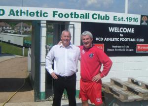 VCD Chairman Gary Rump with former England internation Terry McDermott
