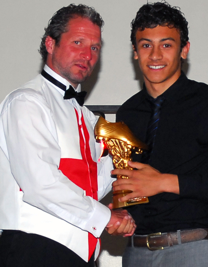 George Porter (right) receives his award from manager Ian Jenkins at the Cray Wanderers charity ball.
