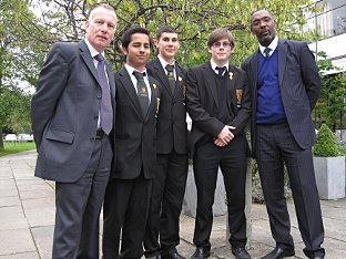 Left to right: Headteacher Brian Lloyd, Arjun Jethwa, Omar Taki, Luke Alland, assistant headteacher Richard Johnson