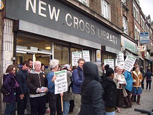 News Shopper: Protesters outside New Cross Library on February 5