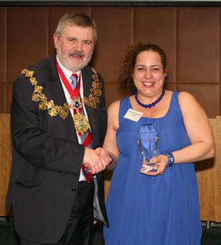 Danielle Heath with Sir Steve Bullock at last year's Make a Difference awards