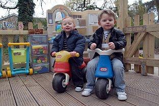 Getting a tatse of the forest are Callum Smedmor and Dylan Walsham both aged two