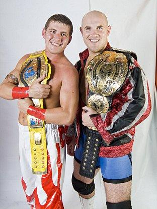 News Shopper: Wrestling champions Dean Allmark and James Mason take on the Football Hooligans in Gravesend