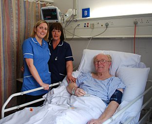 Patrick Fogarty is one of the unit's first patients, pictured with staff nurse Aoife Ball and ward manager Trish Cossar