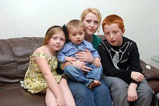 Claire Parkinson with her children Alice, Harley and Giovanni