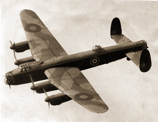 An Avro Lancaster bomber in action during the Second World War