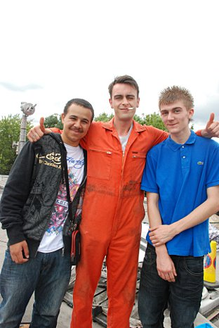 News Shopper: Cameron (Left) and Aaron with actor Joseph Gilgun (who plays Rudy) on set