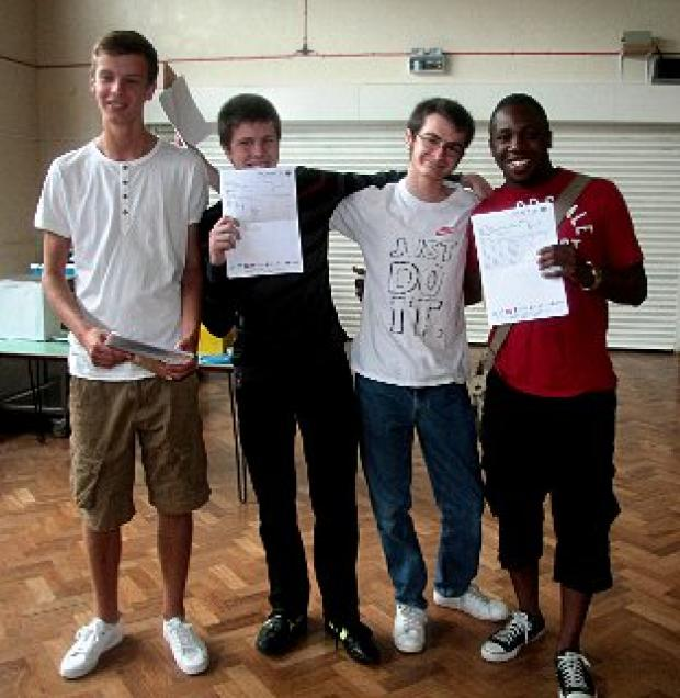 Ben Hodges, 18; Craig Chatfield, 18; Jack Ambrose, 18; Lawrence Williams, 18 celebrate receiving results at Wilmington Grammar School for Boys
