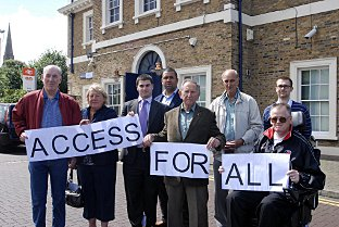 Campaigners in 2008 outside the station including Terry Middleditch