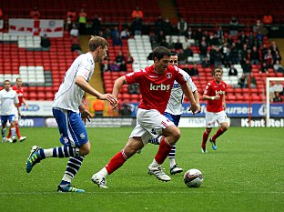Yann Kermorgant drives forward against Tranmere. PICTURE BY EDMUND BOYDEN.