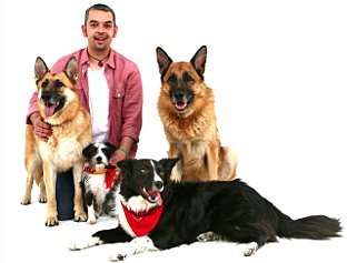 Peter Singh with Lola, Pedro, Pickle and Billy