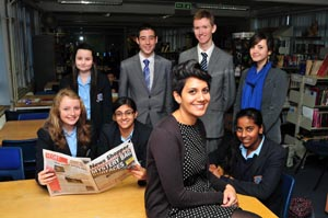 News Shopper: Bexley Grammar School pupils taking part in our Young Reporter scheme; Caitlin Holmes,14, Adam Bligh-Hasan aged 16, Ryan Bulling, 17, Fay Watson aged 17, Olivia Smith, aged 14, Taranpreet Bhoday, 14, and Thulasi Srikanth, aged 14 with teacher Laura Peters