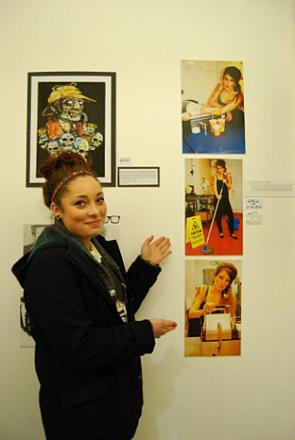 Holly Harradine, 17, shows off her artwork