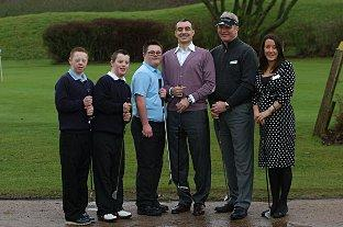 L-R Billy Birchmore (15), James Bowers (14), William Ely (14), Ulvi Kasimov Chairman Chelsfield Lakes, Nigel Lee head PGA coach & Yvonne Brooke General manager.
