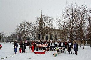 News Shopper: A snowy protest against the plans earlier this year