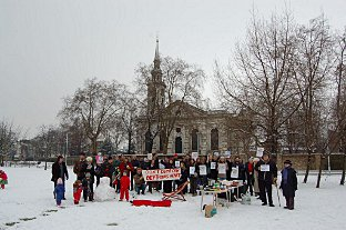 A snowy protest against the plans earlier this year