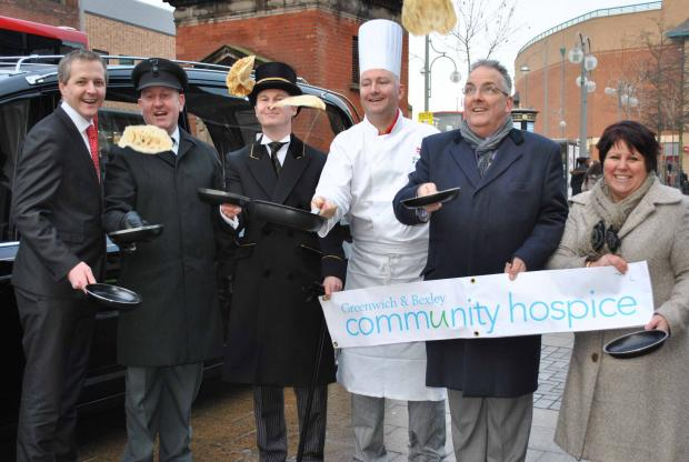 From L-R Tony Edwards from Bexleyheath Marriott Hotel, Pat Fogarty & Matthew Uden from W. Uden & Sons Ltd, David Hayes Executive Head Chef at Bexleyheath Marriott Hotel, Ian Payne Bexleyheath Town Centre Manager & Julie-Lawrie Raison from the hospice