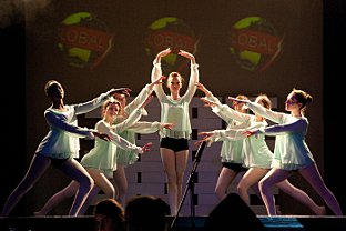 Futuristic adventure for girls in We Will Rock You musical performance