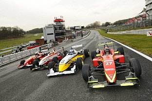 Formula 3 cars that will race in the F3 Cup series. PICTURES BY SIMON HILDREW.