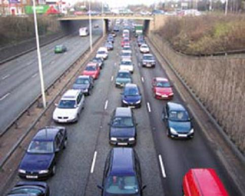 Queueing traffic following two accidents on M25