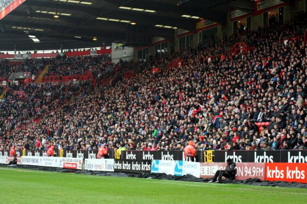 News Shopper: The East Stand was virtually filled for the Chesterfield game. PICTURE BY EDMUND BOYDEN.