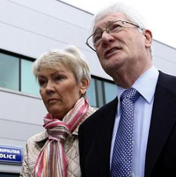 Christopher Tappin with his wife Elaine outside Heathrow police station last Friday