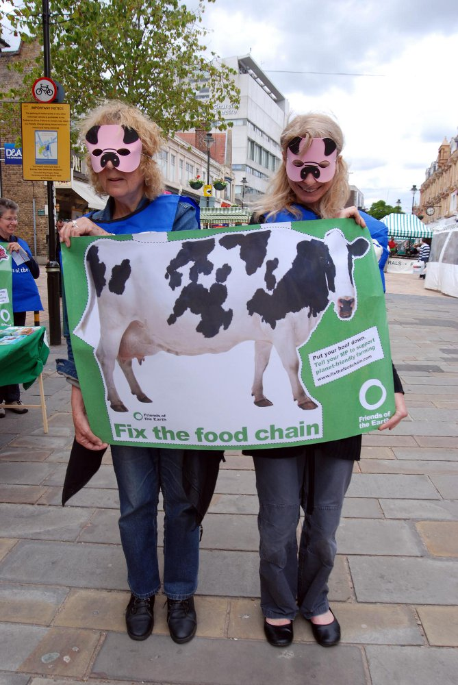 News Shopper: Ann Garrett and Tamara Galloway wore animal masks to promote the FoE fix the food chain campaign in June 2009