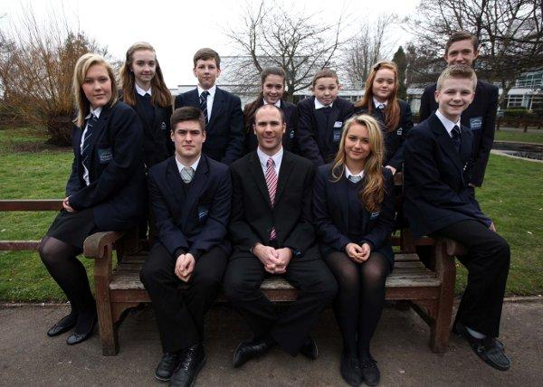 Head teacher Ben Smith with pupils