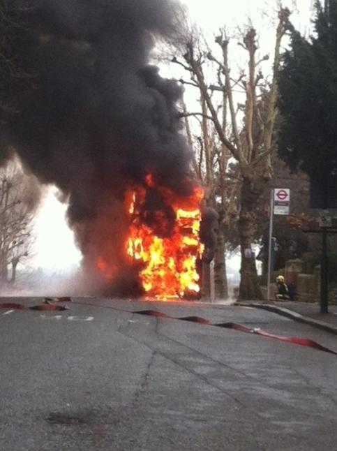 Picture by Benjamin Ward - Bus on fire in Kitto Road