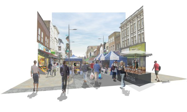 Artist's impression of what Deptford High Street will look like
