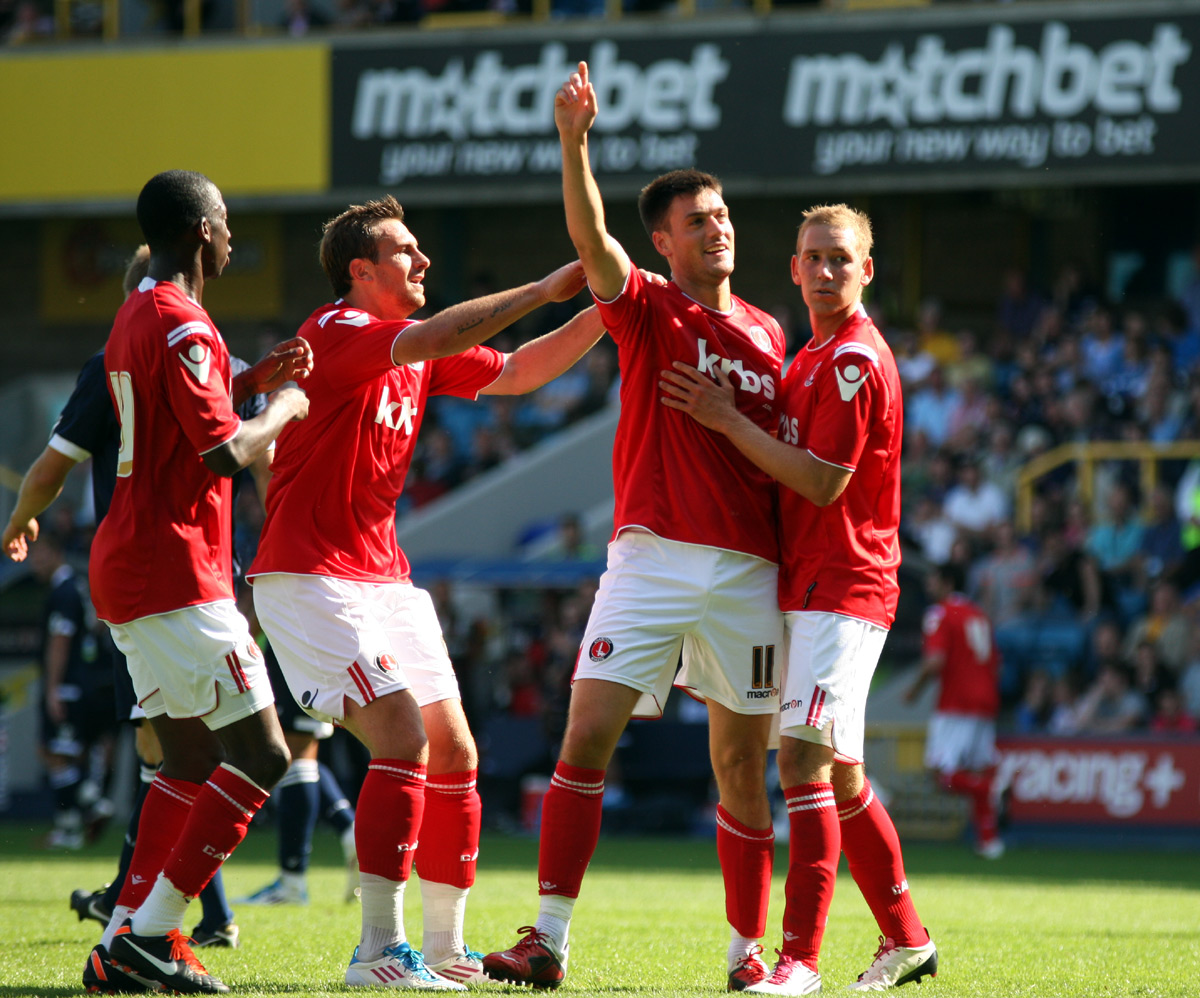 Johnnie jackson celebrates after scoring at Millwall in pre-season. PICTURE BY EDMUND BOYDEN.