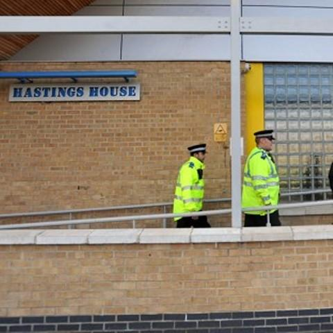 Officers at the scene yesterday. Picture by Press Association