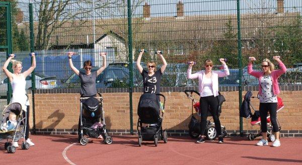 Mums taking part in a buggy fitness session at North Cray Children's Centre