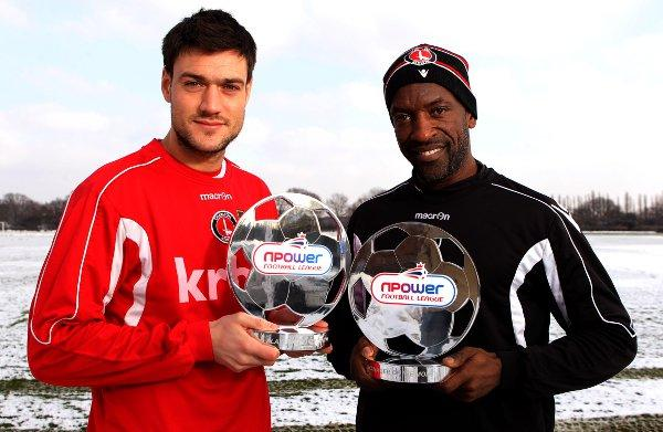 January player of the month Johnnie Jackson with manager of the month Chris Powell