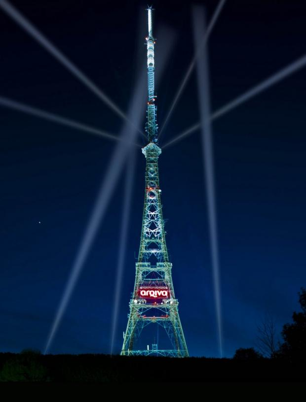 The transmitter tower was lit up last night. Picture courtesy of Arqiva.