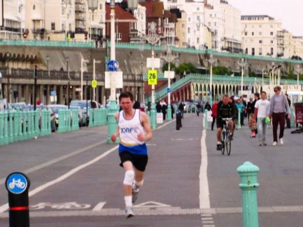 News Shopper: Gavin Griffiths as he reaches the finishing line in Brighton.