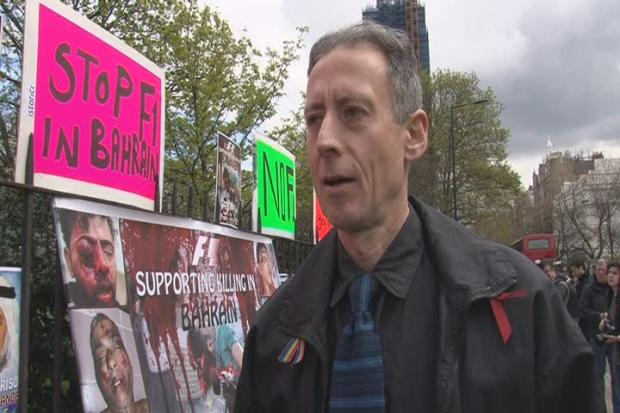 News Shopper: Around 20 people staged a demonstration against the Bahrain grand prix outside the Formula One office in Knightsbridge, central London. Human rights activist Peter Tatchell attended the protest which was organised  by campaign group Justice for Bahrain.