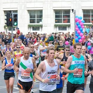 Thousands of runners are pounding the streets in the Virgin London Marathon
