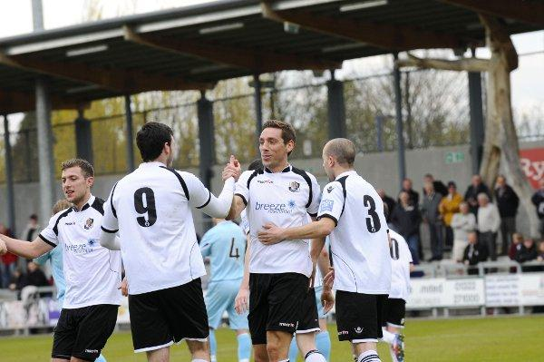 Dartford celebrate their opening goal