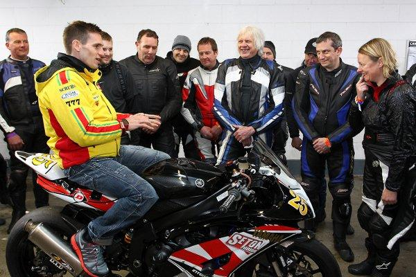 Tommy Hill chats to Club MSV trackday riders at Brands Hatch