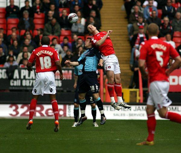 Yann Kermorgant wins a header in last week's win over Wycombe. PICTURE BY EDMUND BOYDEN.