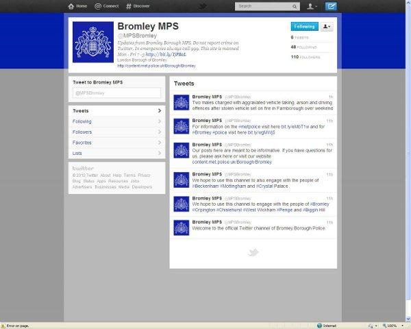 Bromley police has joined Twitter