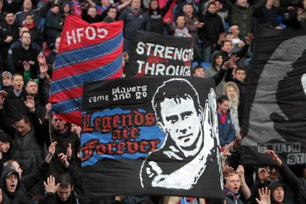 Despite the rain and defeat, fans stayed behind to praise Palace's squad