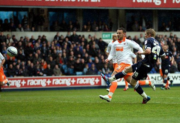 Andy Keogh fires Millwall into the lead. PICTURES BY EDMUND BOYDEN.