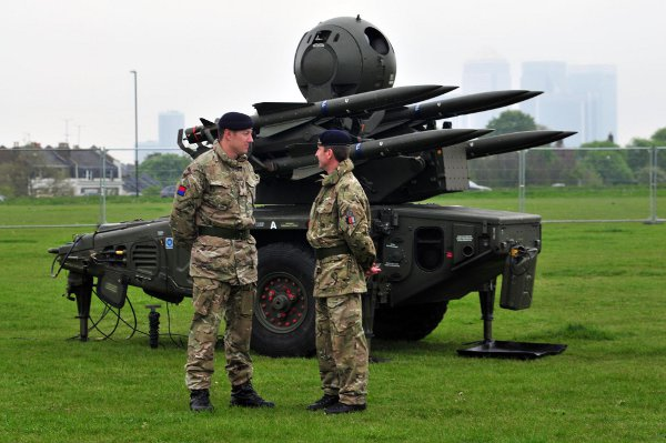 Soldiers in front of the missiles at Blackheath