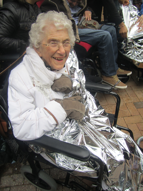 Barbara Dubery in her foil blanket
